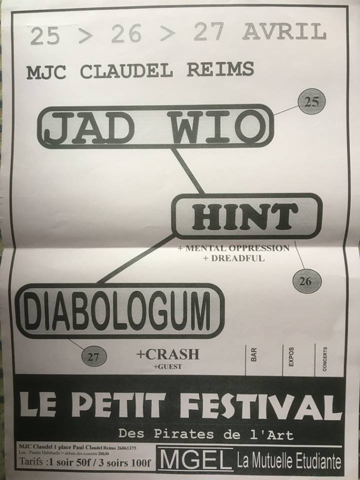 "25 avril 1996 Jad Wio à Reims ""MJC Claudel"""