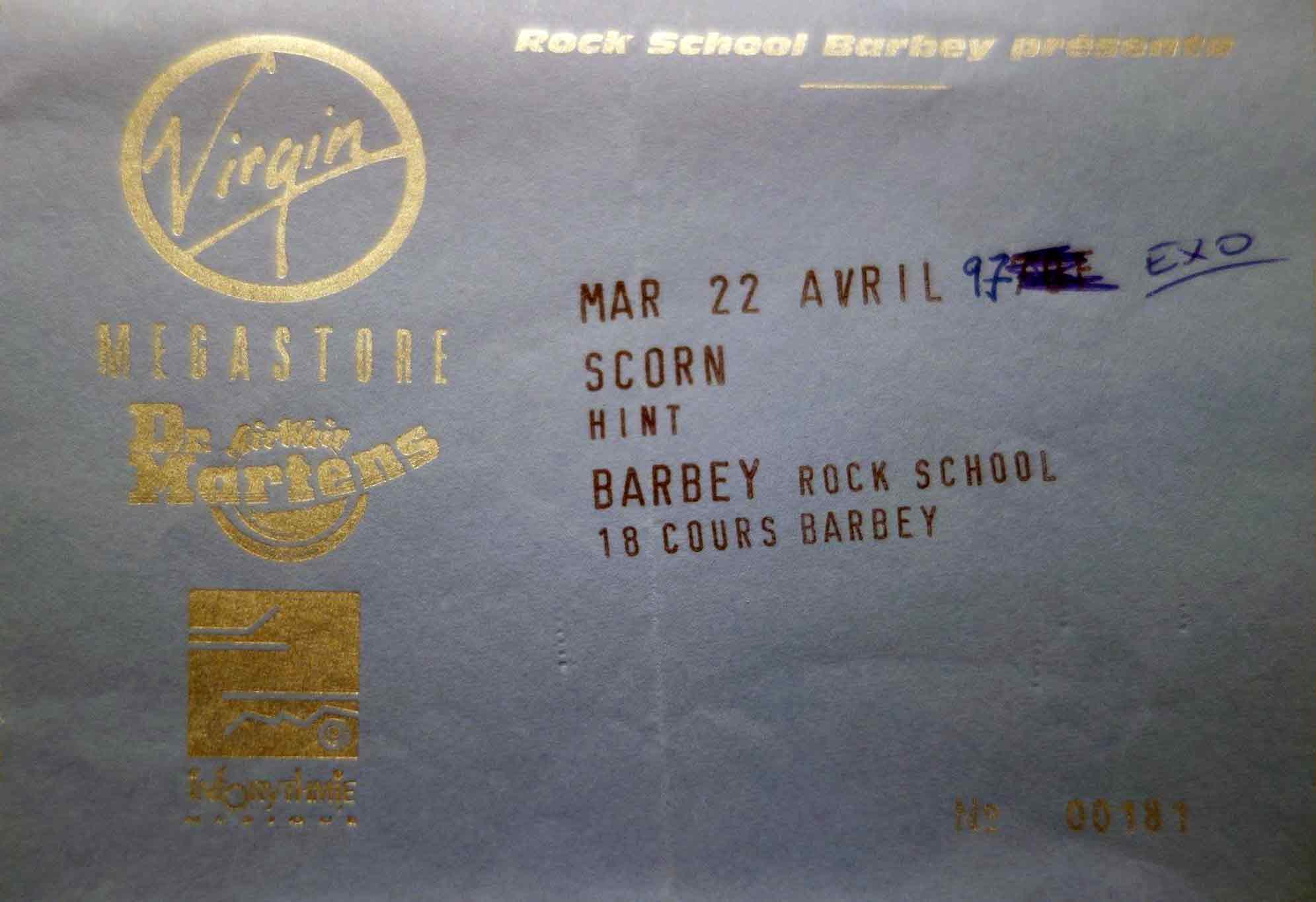 """22 avril 1997 Scorn, Hint à Bordeaux """"Barbey"""""""
