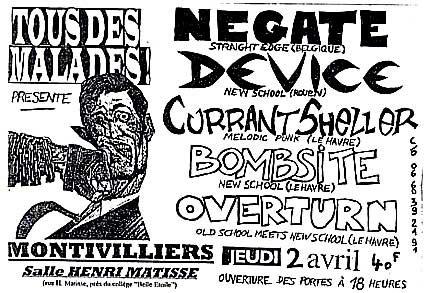"2 Avril 1998 Negate, Device, Currant Sheller, Bombsite, Overturn à Montivilliers ""Salle Henri Matisse"""