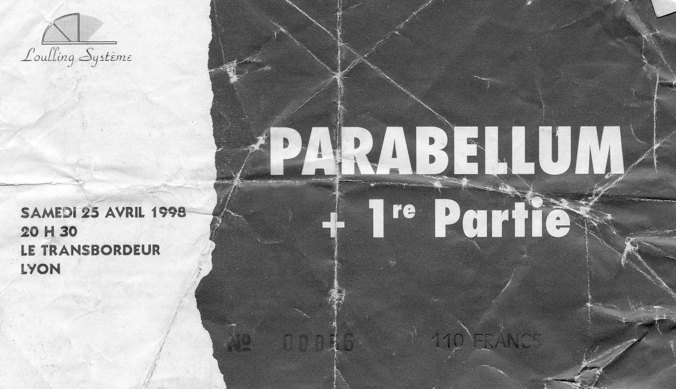 """25 avril 1998 Parabellum à Villeurbanne """"le Transbordeur"""""""