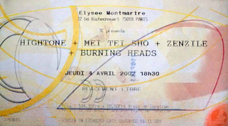 """4 avril 2002 Burning Heads, Zenzile, Mei Tei Sho, Hightone à Paris """"Elysée Montmartre"""""""