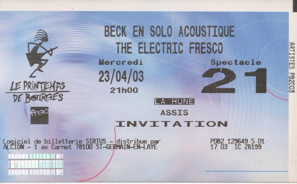 "23 avril 2003 Beck, The Electric Fresco à Bourges ""la Hune"""