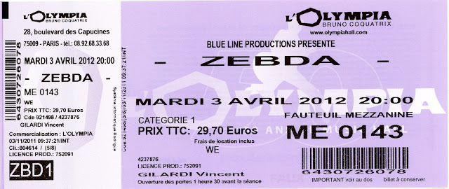 "3 avril 2012 Zebda à Paris ""l'Olympia"""