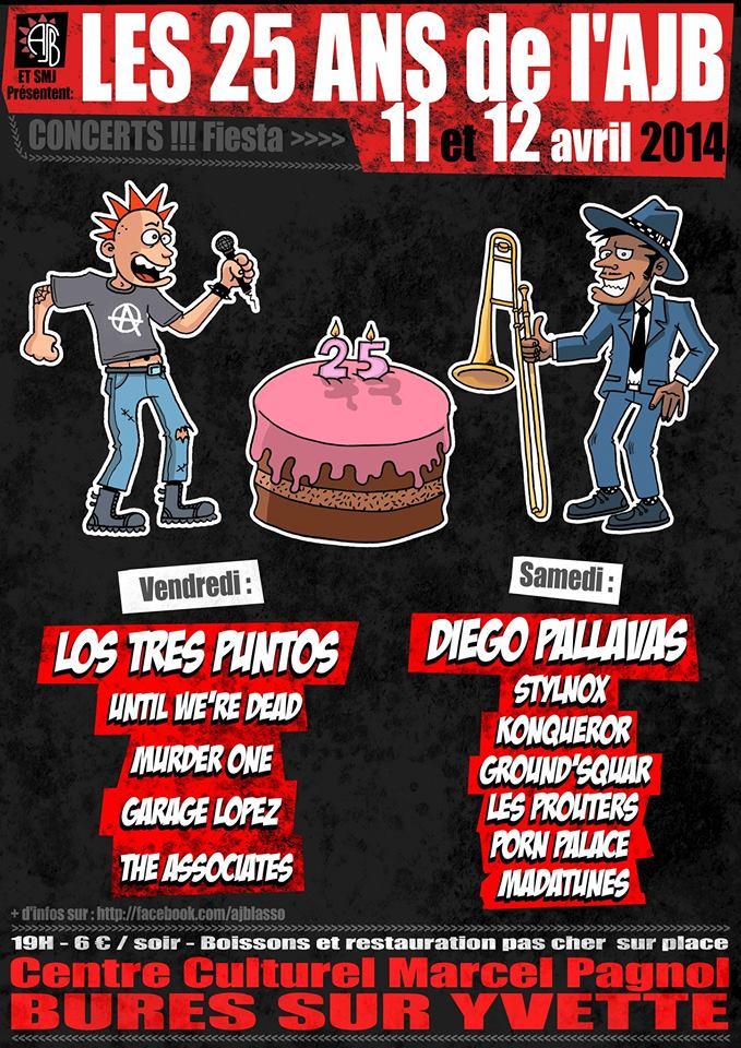"""11 avril 2014 Los Tres Puntos, Until We're Dead, Murder One, Garage Lopez, The Associates à Bures Sur Yvette """"Centre Culturel Marcel Pagnol"""""""