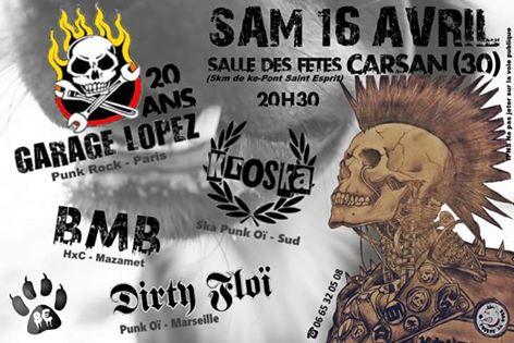 """16 avril 2016 Garage Lopez, Kroska, BMB, Dirty Floi à Carsan """"Salle des Fetes"""""""