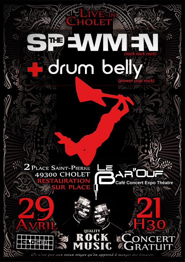 """29 Avril 2016 Spewmen, Drum Belly à Cholet """"Bar'ouf"""""""