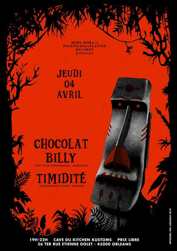 "4 avril 2019 Chocolat Billy, Timidité à Orléans ""Cave du Kitchen Kustom"""