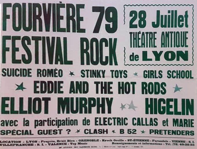 "28 juillet 1979 Suicide Romeo, Stinky Toys, Girls School, Eddie And The Hot Rods, Elliot Murphy, Higelin, Electric Callas, Marie à Lyon ""Theatre Antique"""