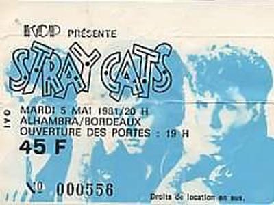 "5 mai 1981 Stray Cats à Bordeaux ""Alhambra"""