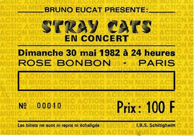 "30 mai 1982 Stray Cats à Paris ""Rose Bonbon"""