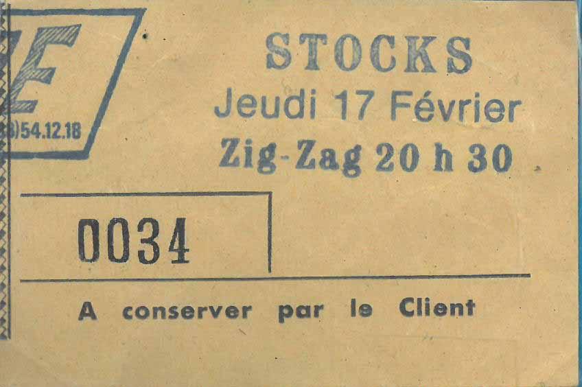 "17 février 1983 Stocks, Docteur Blue à Olivet ""le Zig Zag"""