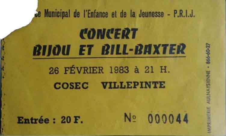 """28 février 1983 Bijou, Bill Baxter à Villepinte """"Cosec"""""""