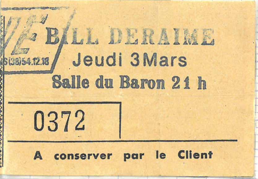 """3 mars 1983 Bill Deraime à Orléans """"Salle Du Baron"""""""