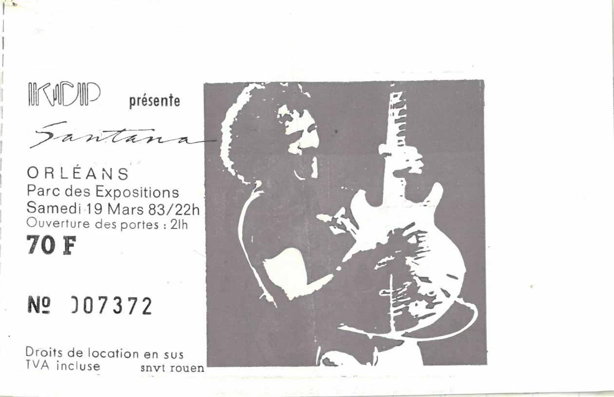 """19 mars 1983 Carlos Santana à Orléans """"Parc des Expositions"""""""