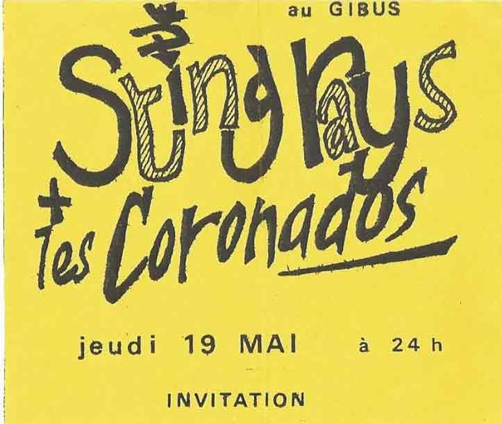 """19 mai 1983 Sting Rays, les Coronados à Paris """"Gibus"""""""