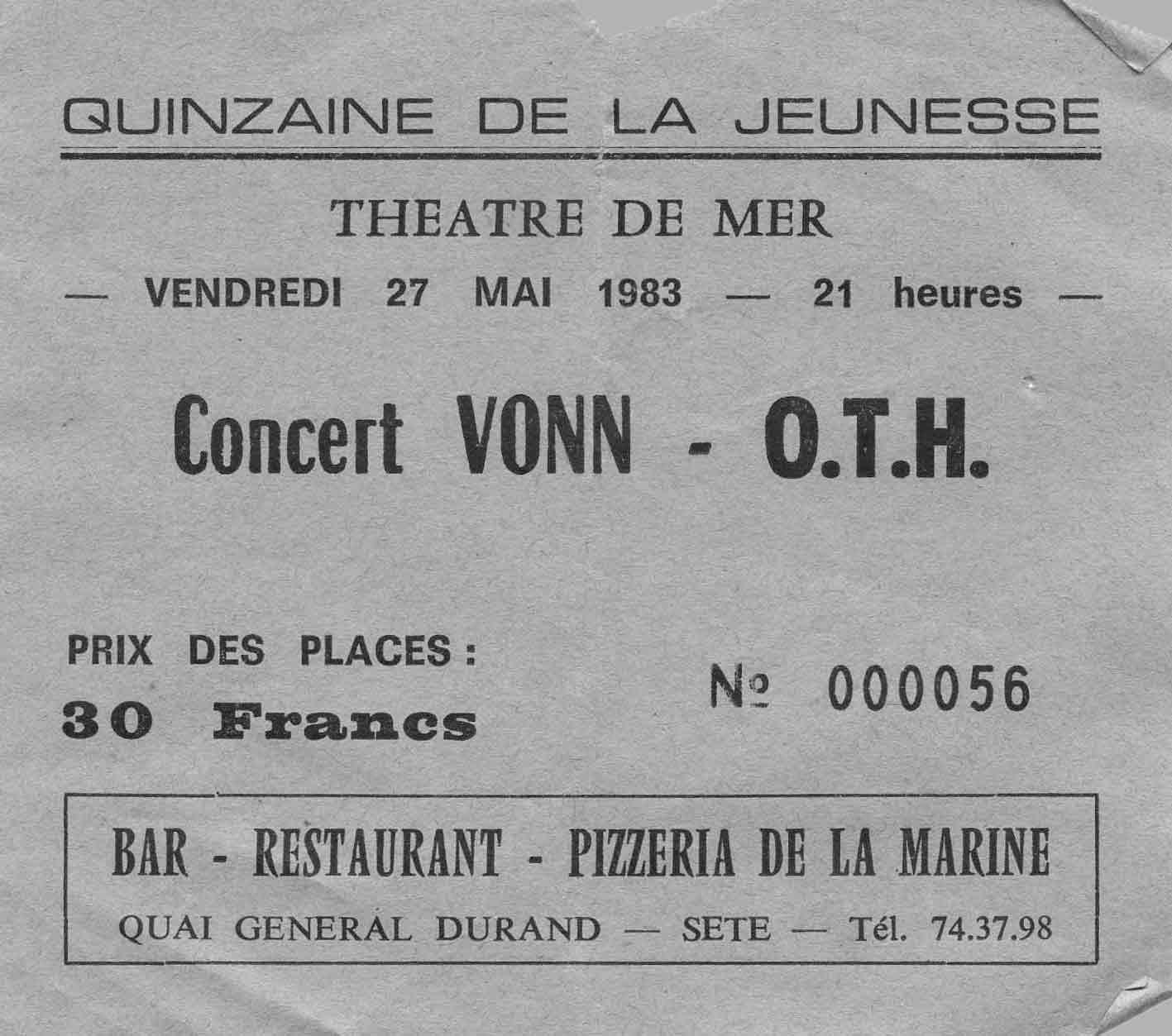 """27 mai 1983 Vonn, OTH à Sète """"Theatre de la Mer"""""""