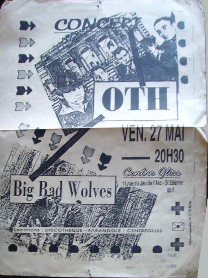 "27 mai 1988 (?) OTH, Big Bad Wolves à Saint Etienne ""Centre Gliss"""