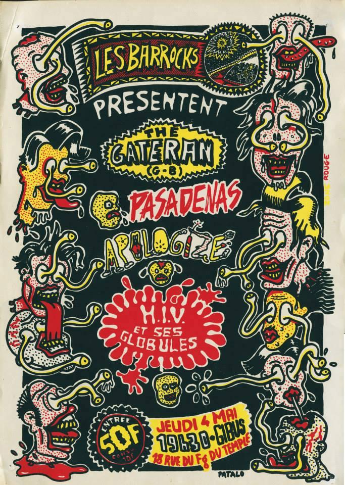 "4 mai 1989 (?) The Cateran, Pasadenas, Apologize, HIV et ses Globules à Paris ""Gibus"""