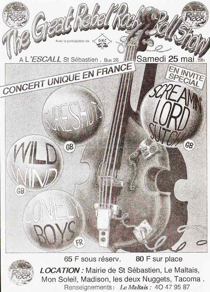 "25 mai 1991 Screaming Lord Sutch, Sureshots, Wild Wind, Lonely Boys à Saint Sebastien Sur Loire ""Escall"""
