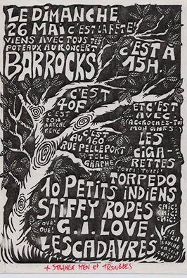 26 mai 1991 (?) Les Cigarettes, Torpedo, 10 petits Indiens, Stiffy Ropes, GI Love, les Cadavres, Strange Men, Troubles à Paris