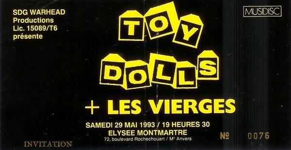 """29 mai 1993 Toy Dolls, les Vierges à Paris """"Elysée Montmartre"""""""