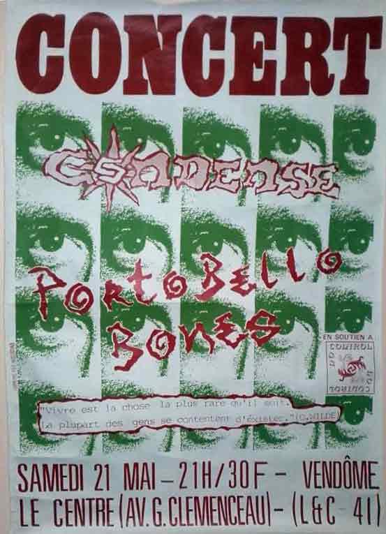 """21 mai 1994 Portobello Bones, Condense à Vendome """"le Centre"""""""