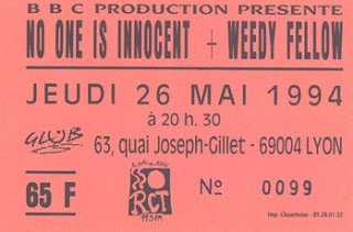 "26 mai 1994 No One Is Innocent, Weedy Fellow à Lyon ""le Glob"""