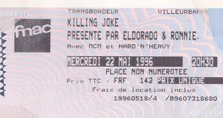 """22 mai 1996 Killing Joke à Villeurbanne """"le Transbordeur"""""""