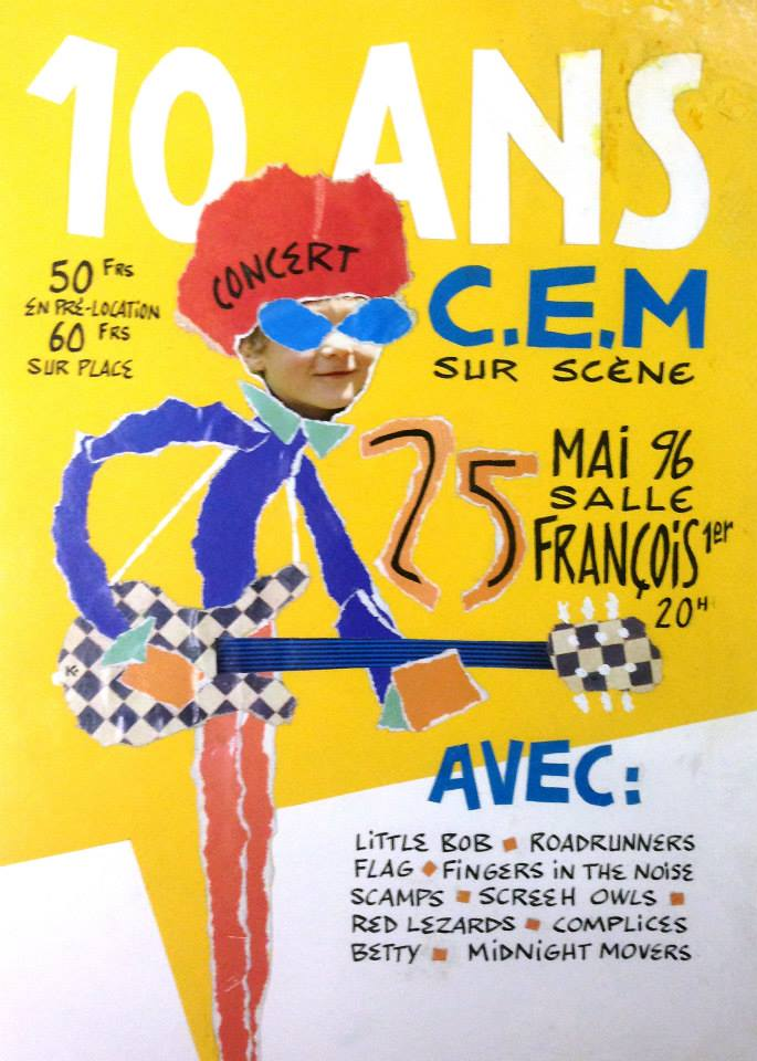 "25 mai 1996 Little Bob, Roadrunners, Flag, Fingers In The Noise, Scamps, Screeh Owls, Red Lezards, Complices, Betty, Midnight Movers au Havre ""Salle François 1er"""