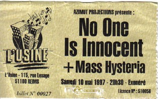 "10 mai 1997 No One Is Innocent, Mass Hysteria à Reims ""Usine"""