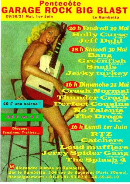 "29 mai 1998 Jeff Dahl, Holy Curse à Paris ""le Gambetta"""