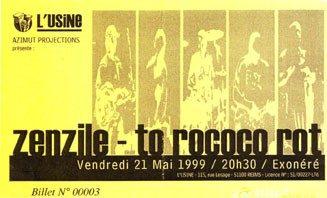 "21 mai 1999 Zenzile, To Rococo Rot à Reims ""l'Usine"""