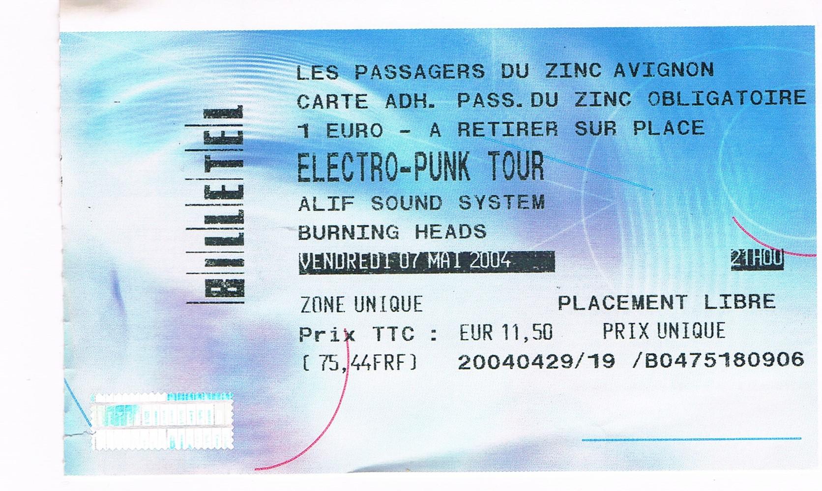 """7 mai 2004 Burning Heads, Alif Sound System à Avignon """"les Passagers du Zinc"""""""