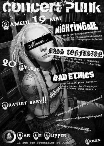 "19 mai 2007 Nightingale, Mass Confusion, Bad Ethics à Saint Ouen ""Bar le Clipper"""