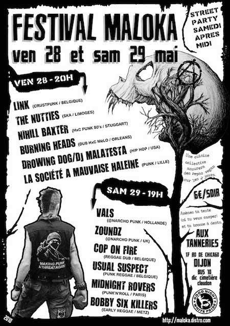 28 mai 2010 Burning Heads, Link, The Nutties, Nihill Baxter, Kawabunga, Drawing Dog, La Société A Mauvaise Haleine à Dijon