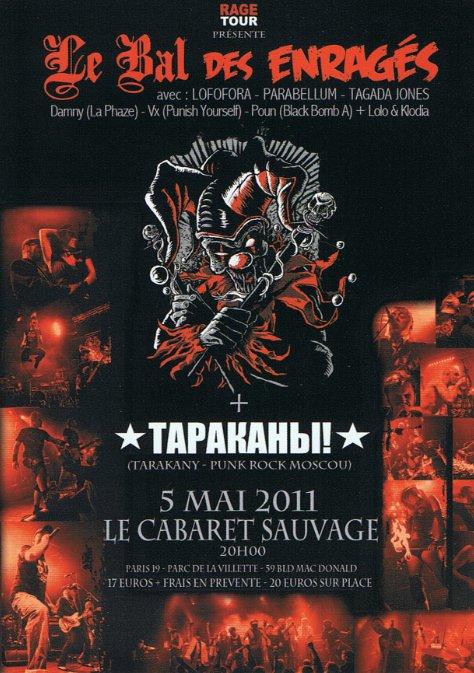 """5 mai 2011 le Bal des Enragés, Tarakany à Paris """"le Cabaret Sauvage"""""""