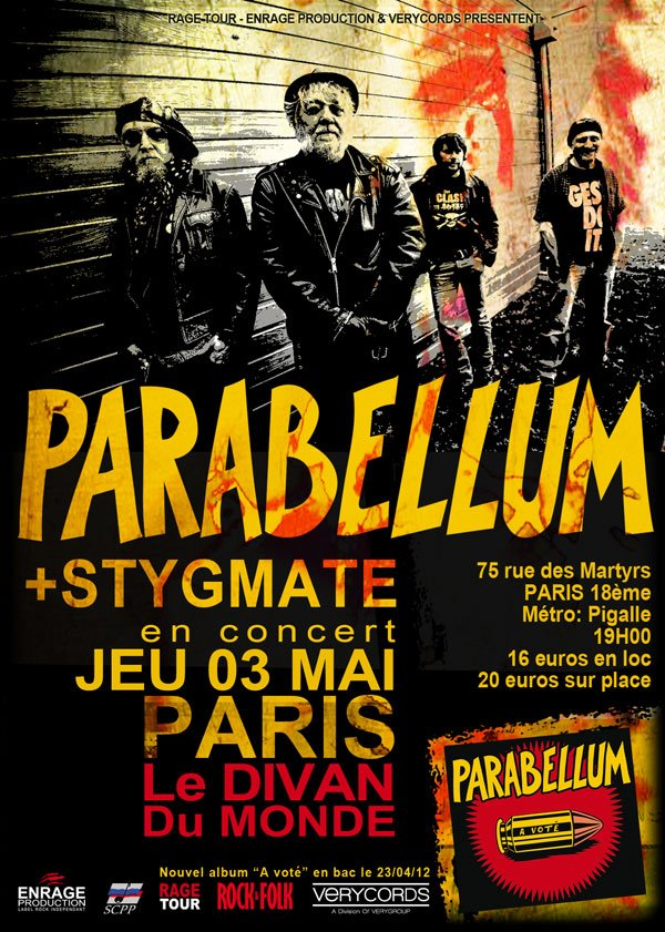 """3 mai 2012 Parabellum, Stygmate à Paris """"Divan du Monde"""""""