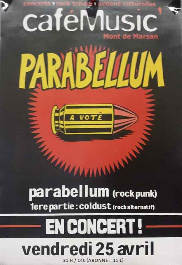 """24 mai 2014 Parabellum, Coldust à Mont De Marsan """"CafeMusic"""""""
