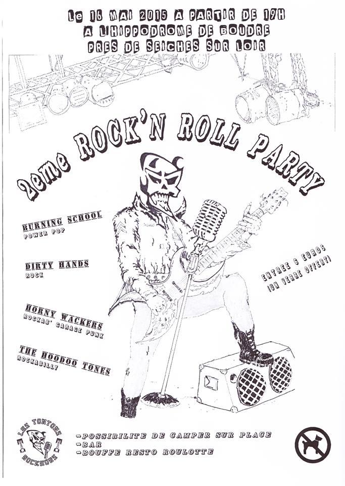"16 mai 2015 Burning School, Dirty Bands, Horny Wackers, The Hoodoo Tones à Seiches Sur Loir ""Hippodrome de Boudre"""