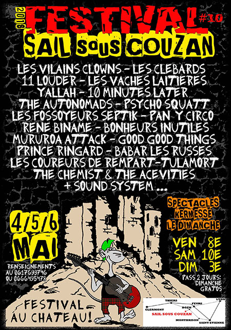 5 mai 2018 10 minutes Later, Rene Biname, The Autonomads, Psycho Squatt, The Chemists & The Acevities, Bonheur Inutiles, Mururoa Attack, Les Fossoyeurs Septik, Good Good Things, Babar les Russes  à Sail-sous-Couzan