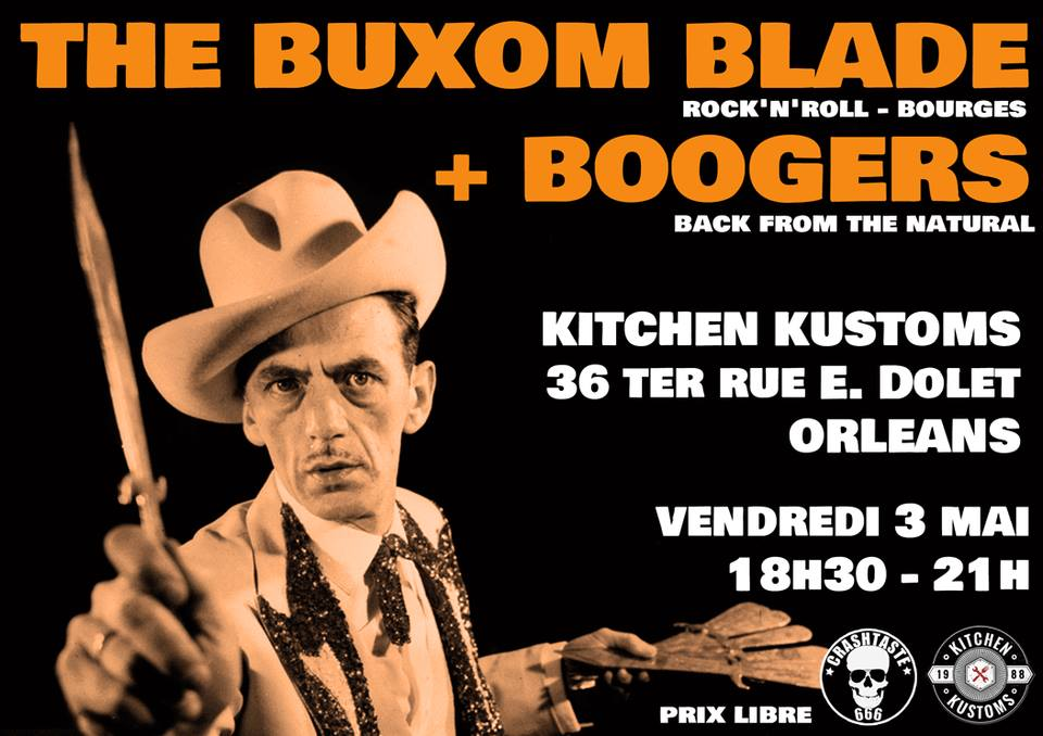 "3 mai 2019 the Buxom Blade, Boogers à Orlééans ""Kitchen Kustoms"""