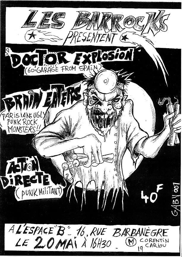 """20 mai (?) Doctor Explosion, Brain Eaters, Action Directe à Paris """"Espace B"""""""