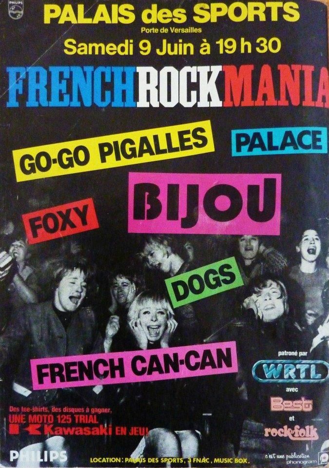 """9 juin 1979 Bijou, Go-go Pigalles, Palace, Foxy, Dogs, French Can-Can à Paris """"Palais des Sports"""""""