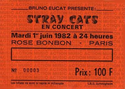 """1er juin 1982 Stray Cats à Paris """"Rose Bonbon"""""""