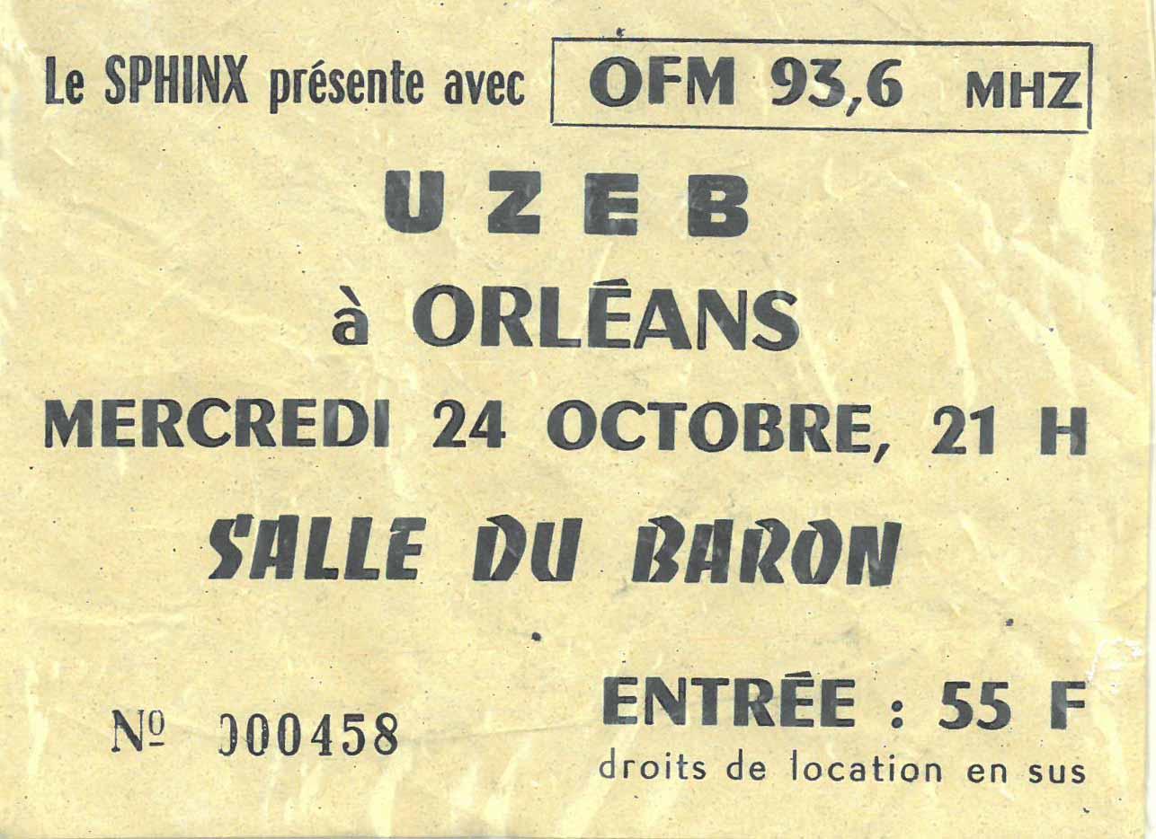 """24 octobre 1984 Uzeb à Orléans """"Salle Du Baron"""""""