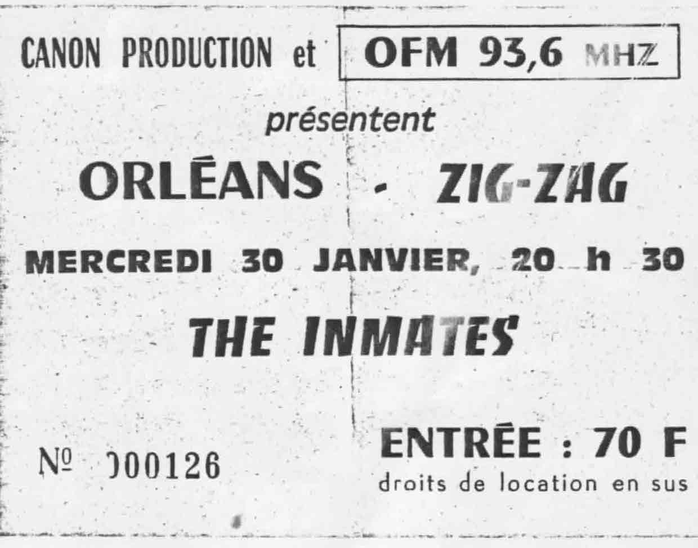 "30 janvier 1985 Les Conquérants, Snapping Boys, Inmates à Olivet ""le Zig Zag"""