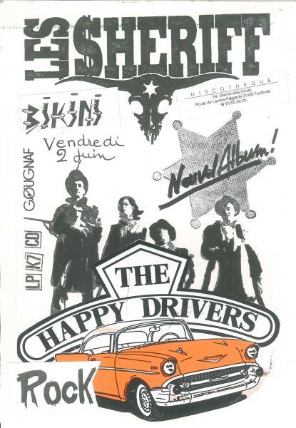 """2 juin 1989 Happy Drivers, les Sheriff à Toulouse """"le Bikini"""""""