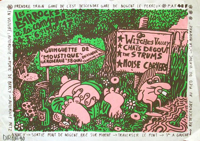 """3 juin 1990 Witches Valley, Chats Degout, The Strums,  Noise Carvers à Champigny Sur Marne """"Guinguette de la Roseraie"""""""