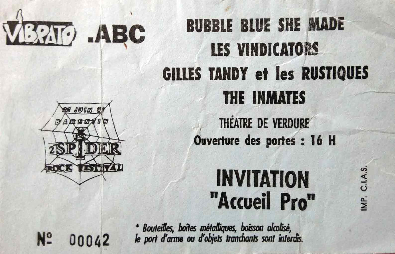 "22 juin 1991 Bubble Blue She Made, les Vindicators, Gilles Tandy et les Rustiques, The Inmates à Barentin ""Theatre de Verdure"""