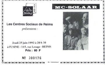 """25 juin 1992 MC Solaar à Reims """"l'Usine"""""""